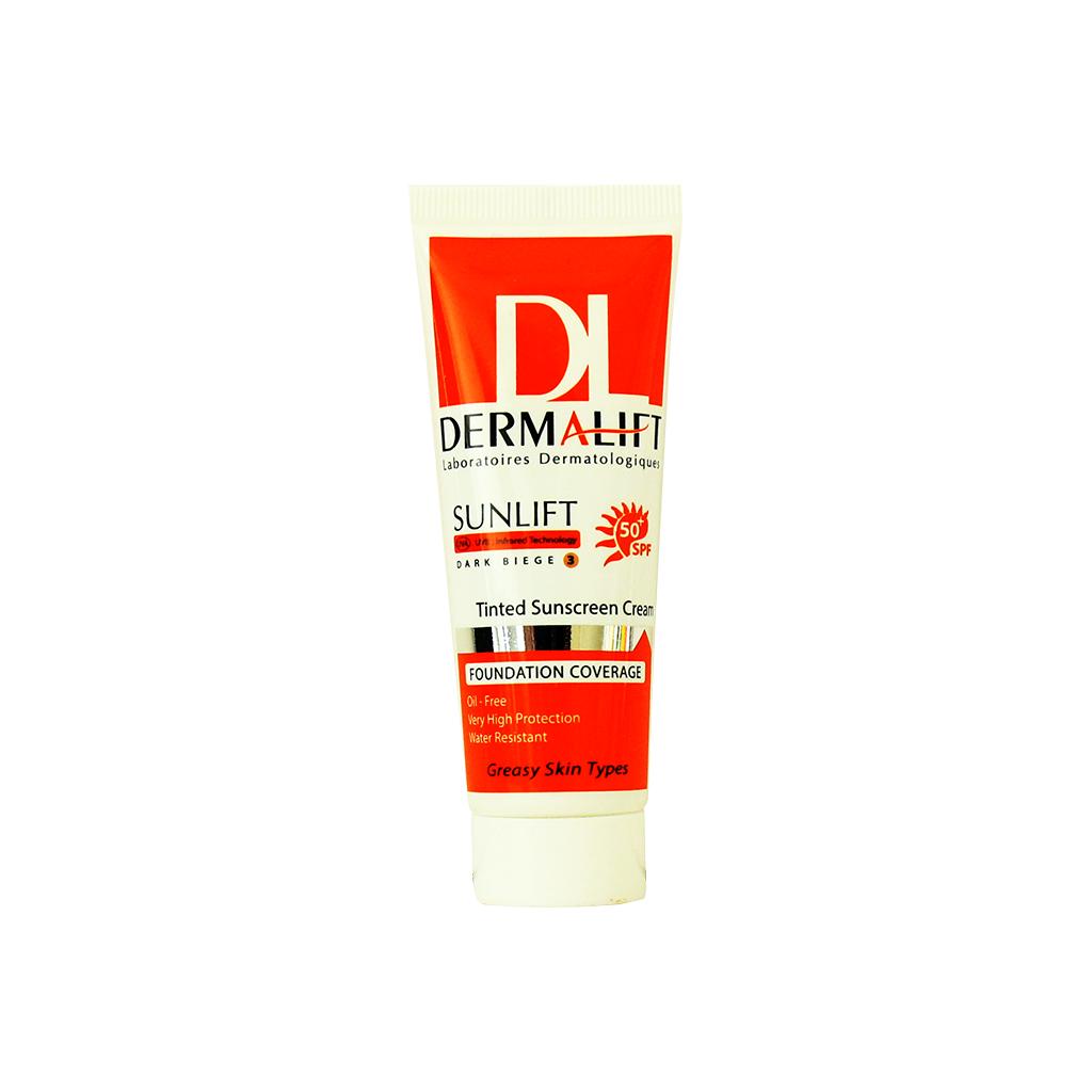 کرم ضد آفتاب رنگی پوست چرب بژ تیره 3 درمالیفت (Dermalift)