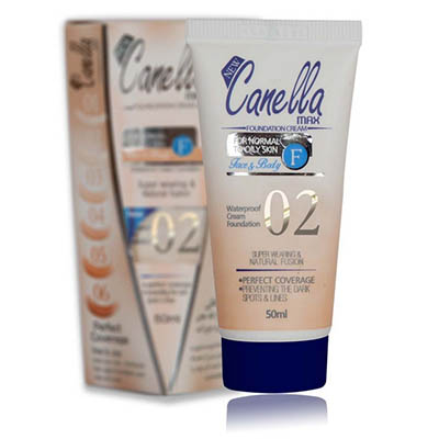 کرم پودر ضدآب شماره 02 کنلامکس Canella Max WaterProof Foundation Cream Number Two 50 ml