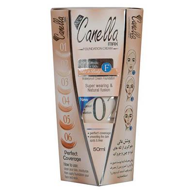 کرم پودر ضدآب شماره 02 کنلامکس Canella Max WaterProof Foundation Cream Number Two 50