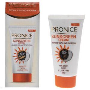 کرم ضدآفتاب 50 اس پی اف خاویار بژ متوسط طبیعی پرونایس Pronice 50SPF Sunscreen Tinted Cream 50ml
