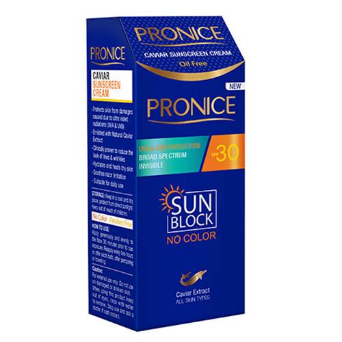 کرم ضد آفتاب بی رنگ 30 اس پی اف خاویار پرونایس Pronice 30SPF Caviar Sunscreen Cream 50ml