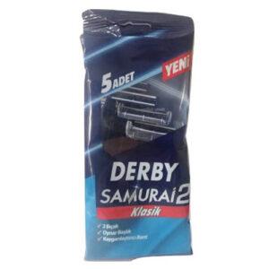 تیغ خودتراش اصلاح مو ( ژیلت ) دربی دو لبه پاکتی مدل سامورایی 5 عددی Derby Samurai 2 Blade Shave Blade Pack Of 5