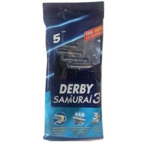 تیغ خودتراش اصلاح مو ( ژیلت ) دربی سه لبه پاکتی مدل سامورایی 5 عددی Derby Samurai 3 Blade Shave Blade Pack Of 5