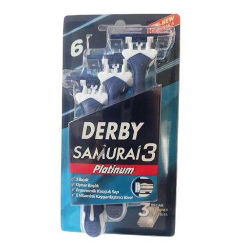 تیغ خودتراش اصلاح مو ( ژیلت ) دربی 3 لبه پلاتینیوم بلیستر مدل سامورایی 6 عددی Derby Samruai 3 Blade Shave Blade Pack Of 6