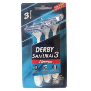 تیغ خودتراش اصلاح مو ( ژیلت ) دربی 3 لبه پلاتینیوم مدل سامورایی 3 عددی Derby Samruai 3 Blade Shave Blade Pack Of 3