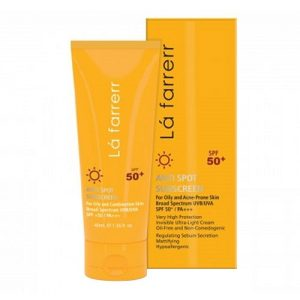 کرم ضد آفتاب و ضدلک بی رنگ پوست چرب SPF50 لافارر