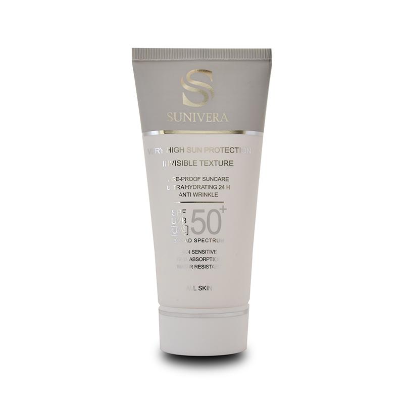 کرم ضد آفتاب بی رنگ مناسب انواع پوست سانیورا SPF50 sunivera all skin